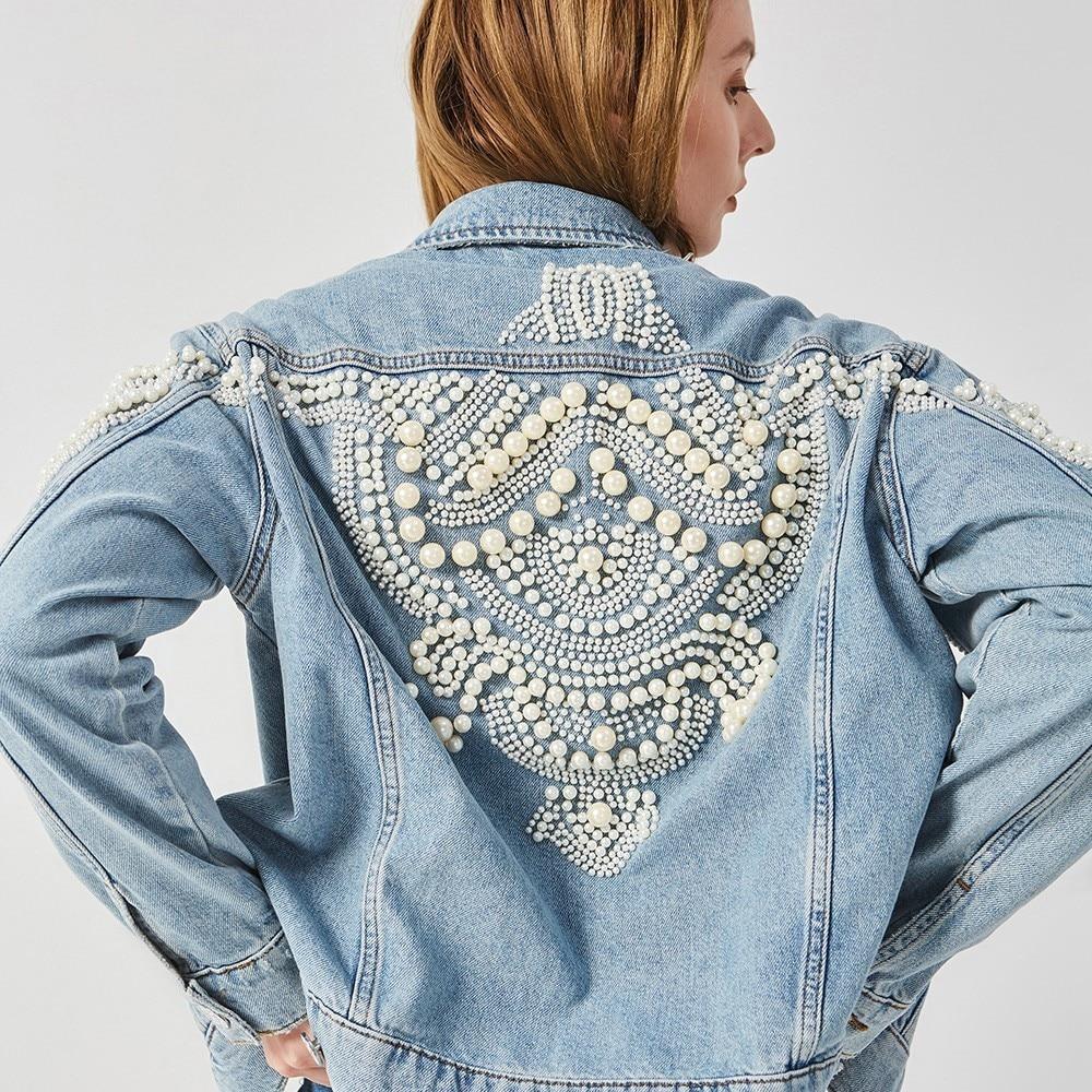 Printemps floral perles broderie denim veste femmes manteau lâche jeans bomber veste vintage streetwear harajuku perle 2018 OFTBUY