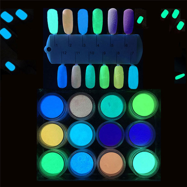 New Fashion 2g Glow In The Dark Nail Powder Sand Fluorescent