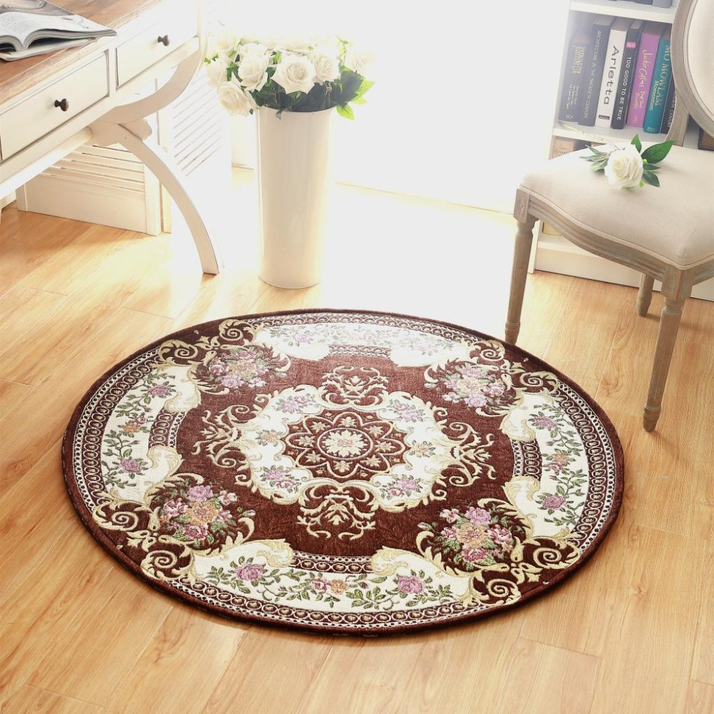 Luxury Europe Jacquard Round Carpet Size 90 120CM Parlor Living Room Bath Mats Chair Rugs Home