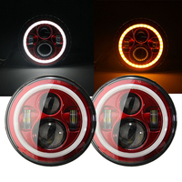 TNOOG 60w 7Inch Red LED Headlight With Red Halo Ring DRL Headlamps For Jeep Wrangler JK