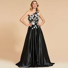 Tanpell black evening dress appliques one shoulder floor length gown women custom a line Robe De Soiree 2019