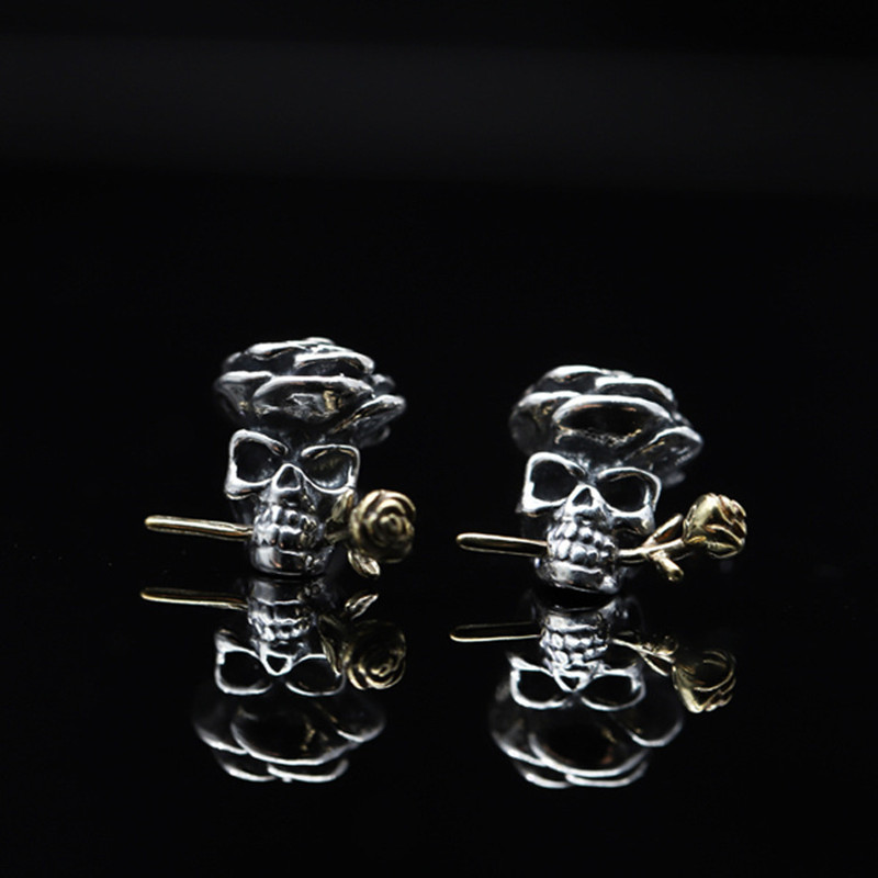 Fine jewelry Earrings 925 Sterling silver S925 Tibetan style black push back pure women lady authentic Thai Silver flower rose