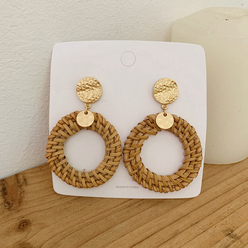 Rattan Earrings Handmade Woven Heart Round Drop Dangle Earring For Women Straw Rattan Vine Braid Earrings Gold Color 2