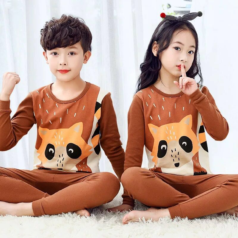 Children   Pajamas     Set   Kids Long-sleeved 2-piece Cartoon Pijamas 3-12Y Boys Girls Cartoon Sleepwear Suit Pyjamas Kids Baby Clothes
