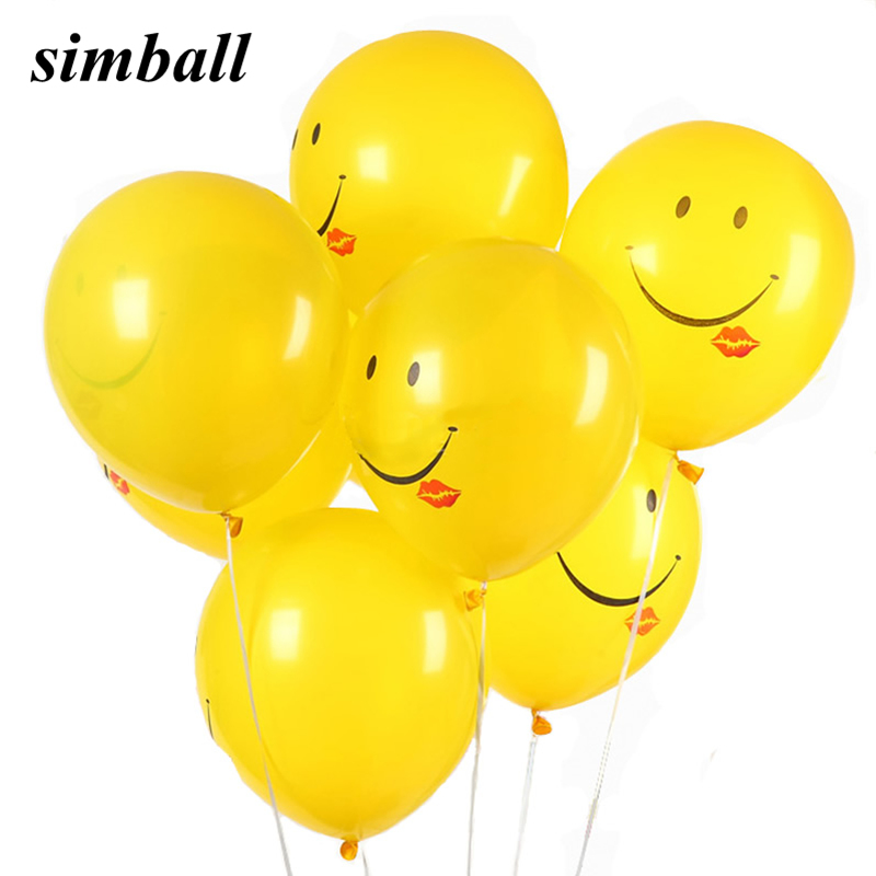 10pcs/lot 12inch 2.8g Smile Lips Yellow Latex Balloon Inflatable Air Balls For Wedding Birthday Party Decoration Helium Balloons