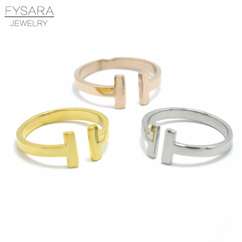FYSARA Fashion Brand Jewelry Double T Letter Ring Women Titanium Steel Gold Color Classic Midi Ring Men Love Ring Open Tail Ring ...
