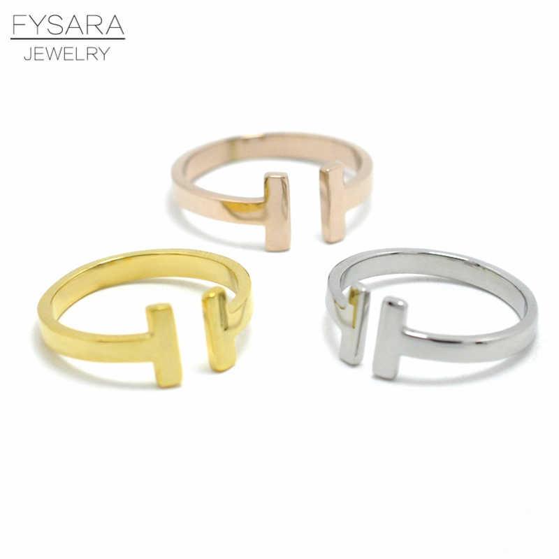 FYSARA модный бренд ювелирных изделий с двойным Т-кольцо с гравировкой Для женщин Титан Сталь золотое, классический цвет кольцо среднего размера Для мужчин Любовь кольцо открытый обруч