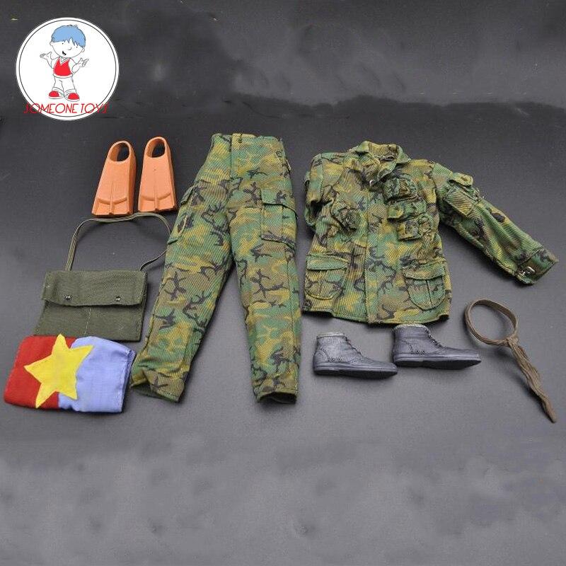 1/6 DIY Soldier Modern Combat Suit With Coat Pants Bag Boots Accessories