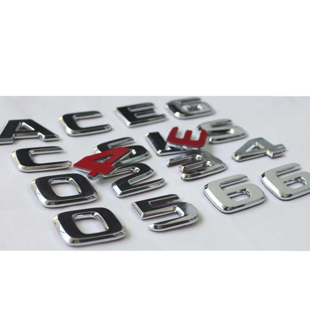 Silver Chrome B180 Flat Benz Car Model Numbers Letters Badge Emblem For B Class Benz W245 W246 W247 AMG
