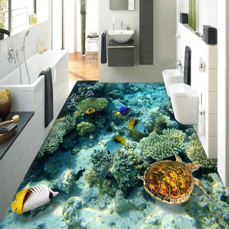 Custom Photo Floor Wallpaper 3D Stereoscopic Underwater World Coral Turtle 3D Mural PVC Self-adhesive Waterproof Floor Wallpaper