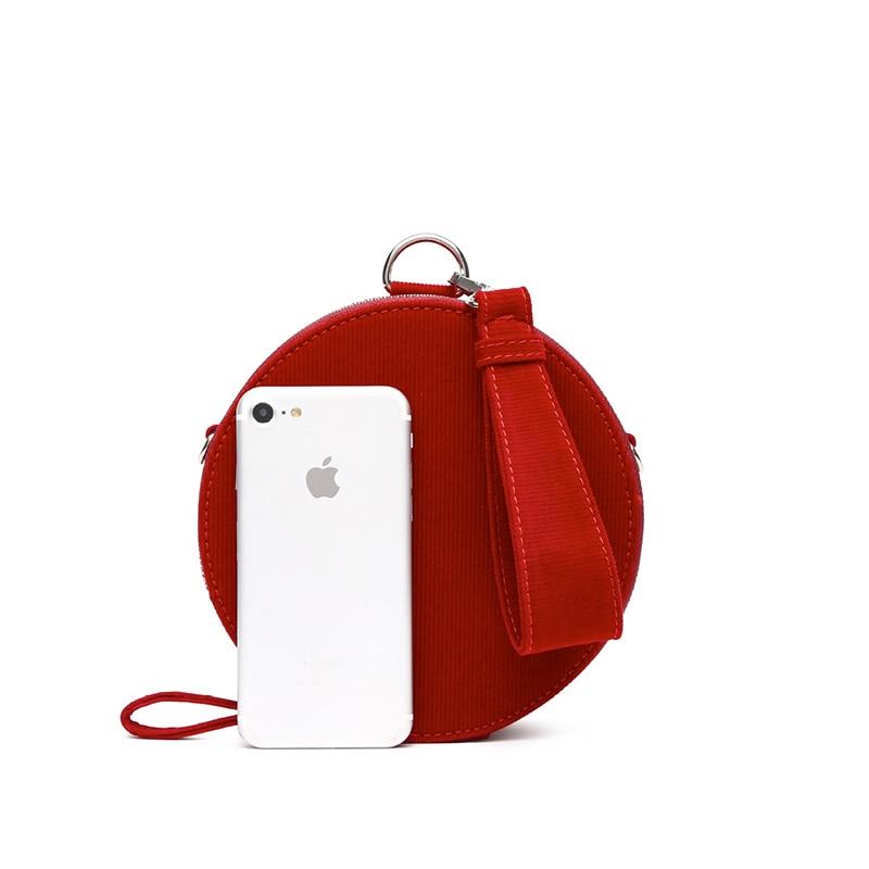 Women Bag Mini Velvet Handbags Zipper Round Shoulder Bag Lusury Red Pocket Winter Messenger Bags A307