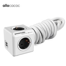 Allocacoc EU 플러그 전원 스트립 USB 스마트 Eu 플러그 벽 연장 케이블 소켓 1.5m 3m Powercube 가정용 전자 충전 250V