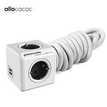 Allocacoc, enchufe europeo, tira de alimentación USB inteligente, enchufe europeo, cable de extensión de pared, enchufe de 1,5 m, 3m, para carga Powercube electrónica doméstica, 250V
