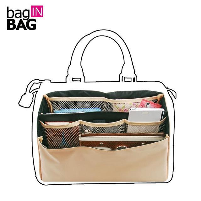 Calidad movible del organizador bag in bag bolsos de marca boston, dual paquete bolsas de almacenamiento plegable, múltiples bolsillos bolsa de cosméticos de maquillaje