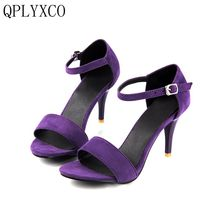 QPLYXCO 2017 New  Elegant Big & Small Size 30-47 Women Sandals Peep Toe Thin High Heels Platform Ladies Shoes 33-2