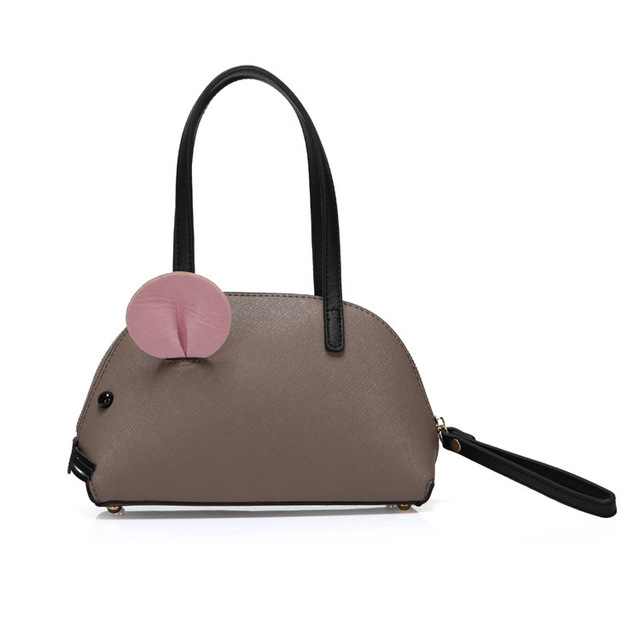 a362093f937b Fashion gray small women mouse bag deisnger high quality PU leather tote bags  woman handbags cute