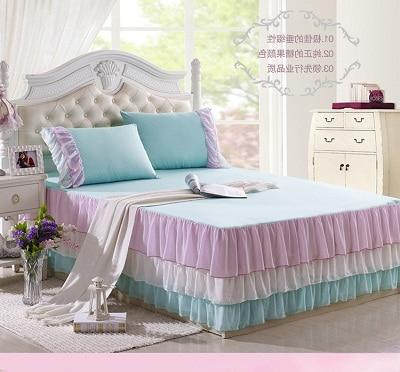 2015 Corea cama de encaje falda 100% algodón Hoja de poliéster de - Textiles para el hogar