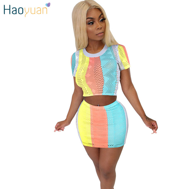 f55ca238f HAOYUAN Sexy 2 Piece Set Women Summer Clothes Crop Top+Bodycon Mini Skirts  Sweat Suit Sexy Club Outfits Two Pcs Matching Sets