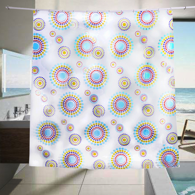 Transparent PVC Bathroom Shower Curtain Endless Printed Waterproof Moldproof Curtains Home Products