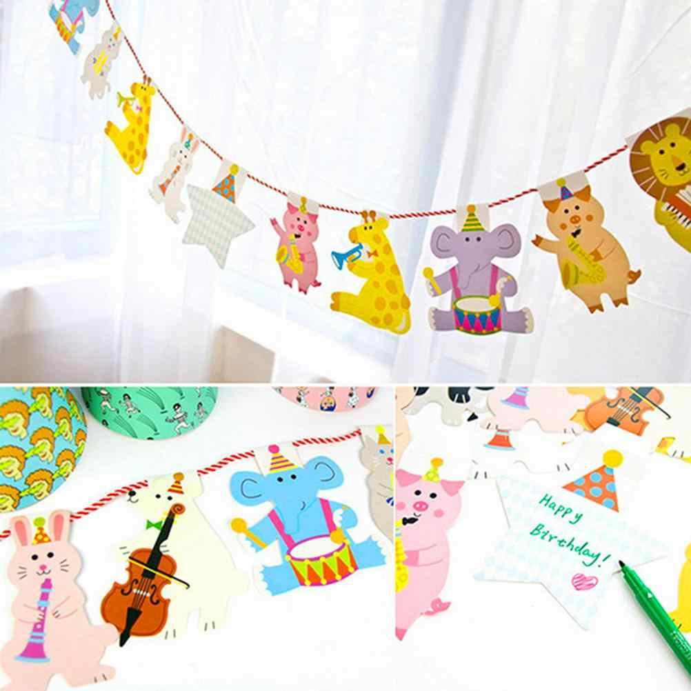 15pcs การ์ตูน Decor วันเกิดแบนเนอร์เด็กสัตว์ Big Family Family Baby Shower PARTY ธง 2 M