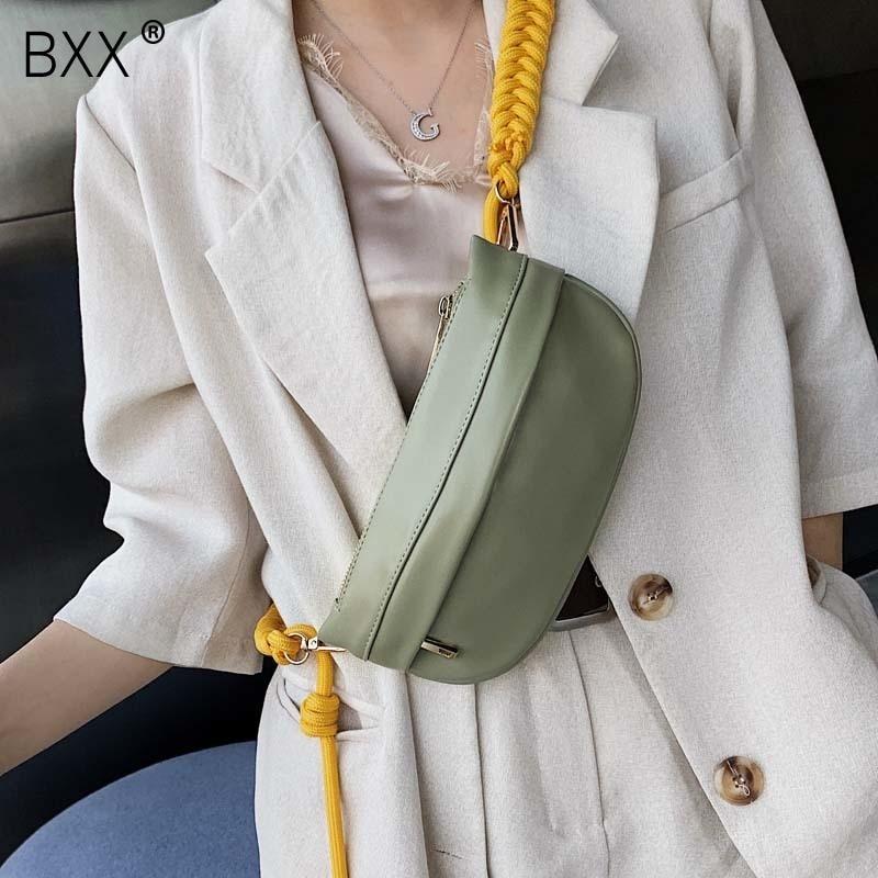 [BXX] Women Single Shoulder Crossbody Bag All-match Flap 2020 Summer Fashion Female Rope Chain PU Leather Waist Chest Bag HF233