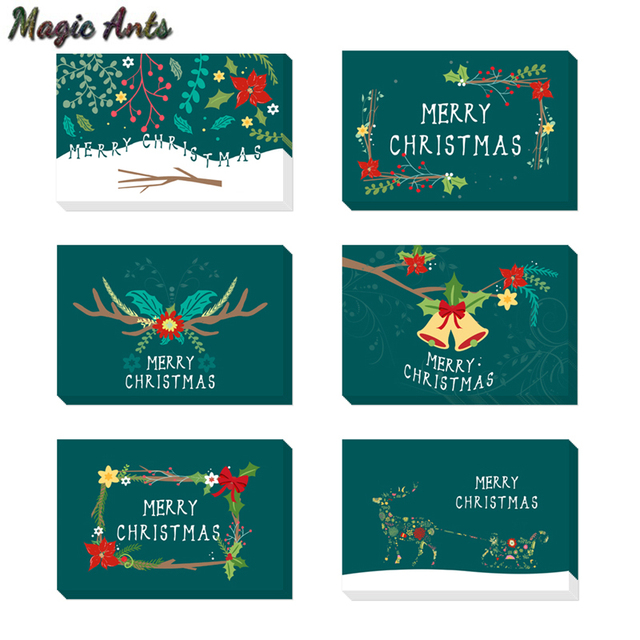flora thank you christmas card with envelope stickers new year winter holidays custom notes card blank