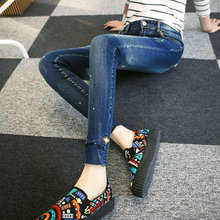 Новая коллекция весна и лето 2016 Корейских женщин тонкий тонкие брюки девять футов носить джинсы поймать линии