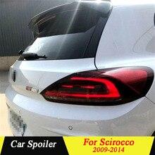 Автомобильное украшение в виде хвостового крыла для Volkswagen Scirocco 2009 2010 2011 2012 2013 углеродного волокна черный задний багажник спойлер на крыше