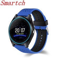 Smartch V9 Quad Band GPS Smartwatch Phone 1.22 inch MTK6261 Camera Pedometer Bluetooth GSM Functions Smart Watch for Android IOS