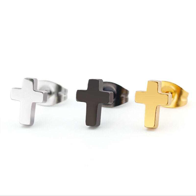 1Pair Tiny Cross Minimalist Men Earrings Stainless Steel Earrings Simple Jesus Studs Fashion Ear Jewelry For Women Man