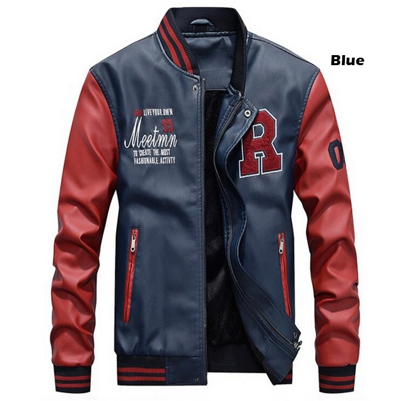 Men Baseball Jacket Embroidered Leather Pu Coats Slim Fit College Fleece Luxury Pilot Jackets Men's Stand Collar Top Jacket Coat 36