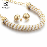 Kalen 2017 New Design Jewelry Set Dubai Gold Color Stainless Steel Round Earrings Plastic Beads Necklace