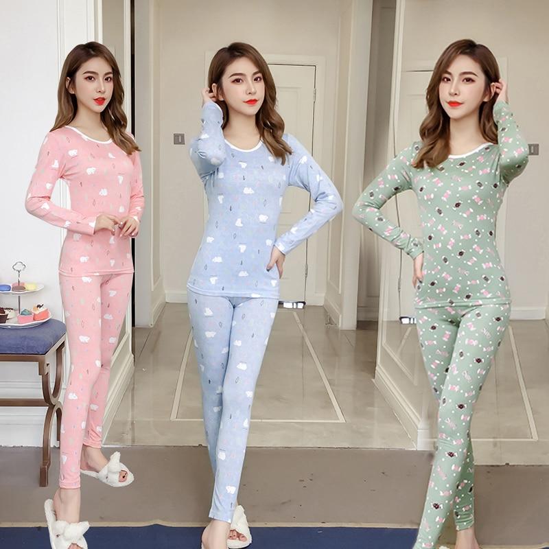 f757e8c183 2018 Winter Fleece Thermal Underwear Pajama Sets for Women Long Sleeve Plus  Velvet Thick Warm Pyjama