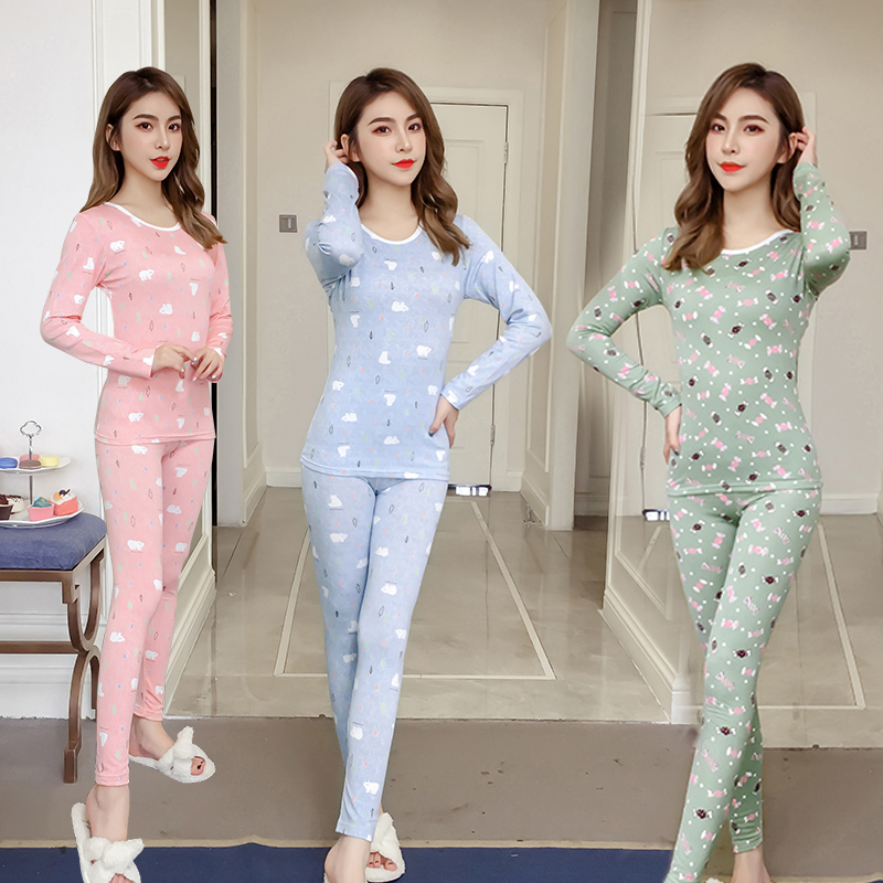 2018 Winter Fleece Thermal Underwear   Pajama     Sets   for Women Long Sleeve Plus Velvet Thick Warm Pyjama Sleepwear Homewear Clothing