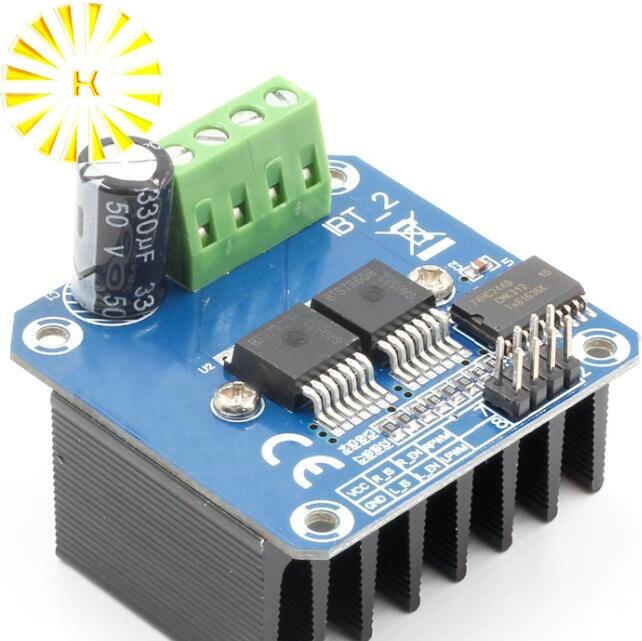 Işıklar ve Aydınlatma'ten Konnektörler'de Çift BTS7960 43A h köprü Yüksek güç Motor Sürücü modülü/diy akıllı araba Akım teşhis Konnektörü