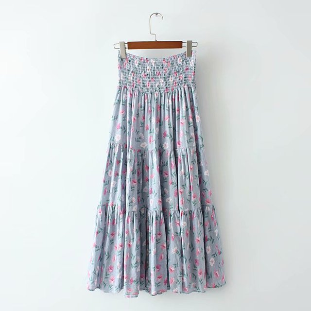 d92570bbd613d Vintage Chic fashion women Hippie beach Bohemian floral print skirt High  Waist Maxi A-Line Boho Skirt Femme