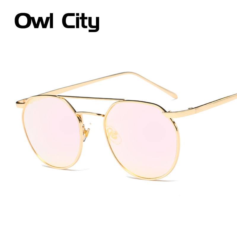 Women Sunglasses Brand Designer Vintage Oval Sunglasses Female Double Deck Alloy Frame Mirror Len UV400 Male Eyewear Unisex
