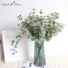 Inch Nordic money leaf silk artificial flower plants home garden decor Christmas Gift Wedding green wall fake flower Eucalyptus