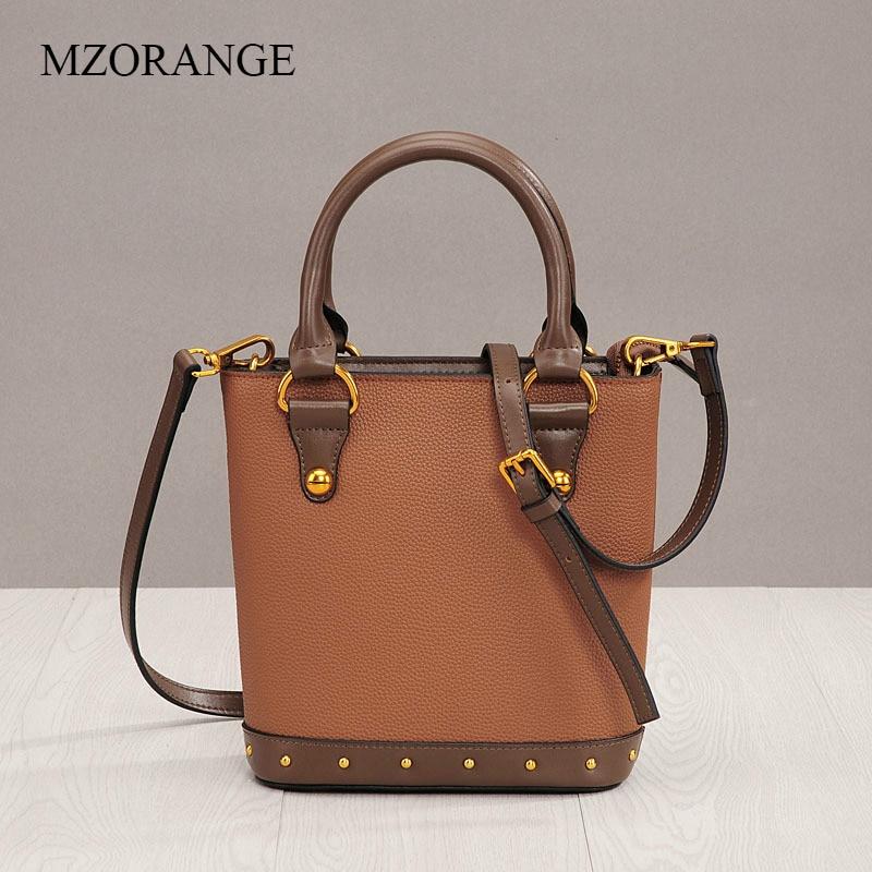 MZORANGE Genuine Leather Vintage Rivet Bucket Bags 2018 New Litchi Pattern Handbag Women Tote Messenger Bag Fashion Shoulder Bag