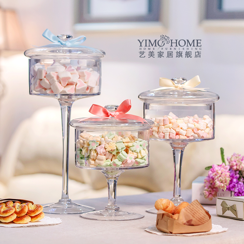 3 combinations european high transparent lid storage bottles dust proof glass cake stand dessert candy jars wedding decoration - Decorative Jars