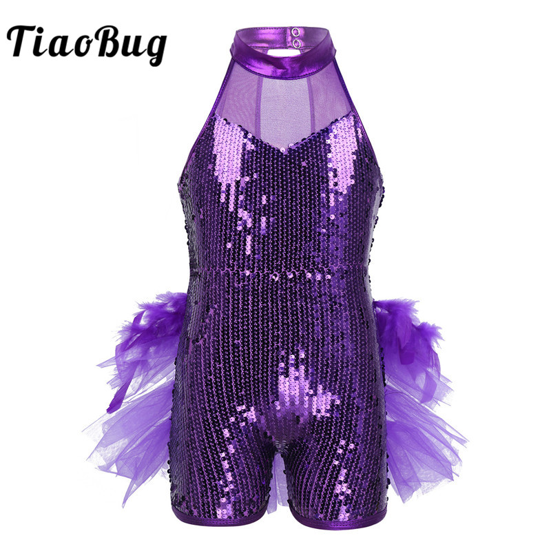 <font><b>TiaoBug</b></font> Children Girls Shiny Sequins Ballet Leotard Kids Feathers Ruffles Ballet Tutu Stage Performance Latin Jazz Dance Costume image