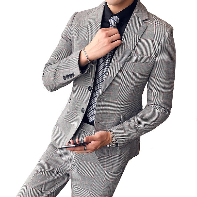 British Style Slim Houndstooth Suit Two-Piece Suit Jacket + Pants Business Gentleman Boutique High-End Men's Suits