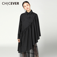 CHICEVER 2018 Spring Black Women T Shirts Top Long Sleeve Loose Big Size Cloak Pullovers T shirt Tops Clothes Fashion Casual