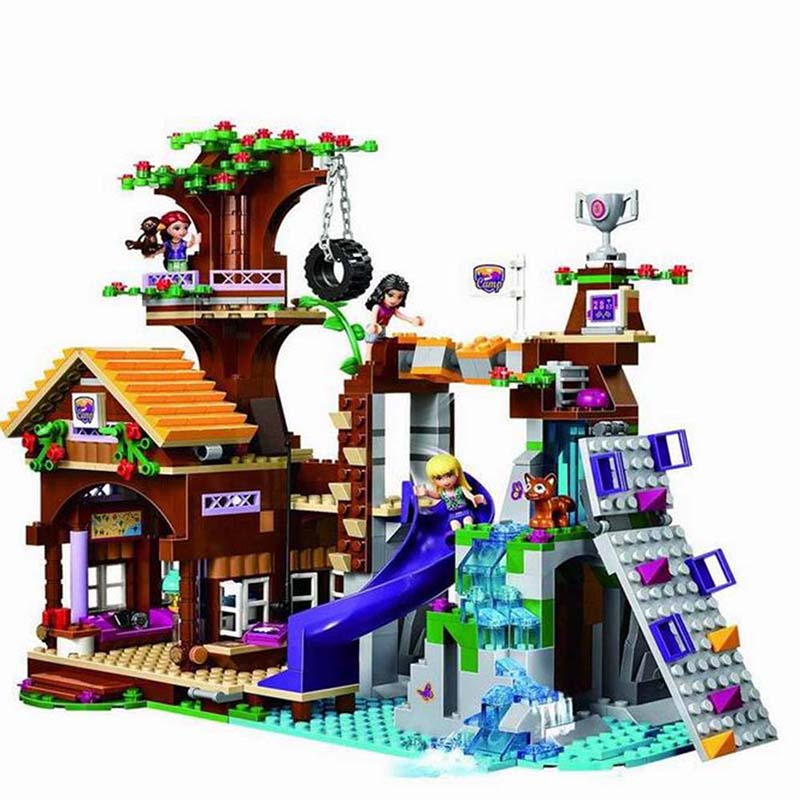 BELA 739Pcs <font><b>10497</b></font> Friends Adventure Camp Tree House tire swing Model Building Minis Blocks Girl Toys Compatible 41122 image