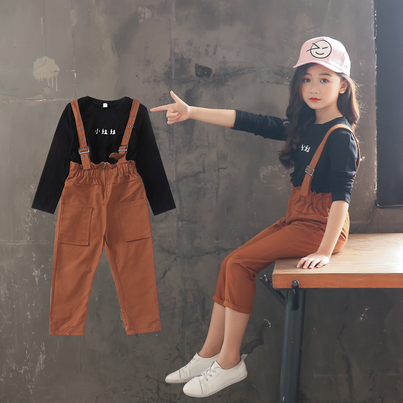 все цены на Girls Overalls Tee Shirt Long Sleeve Clothing Sets Autumn Black Cotton T Shirt and Green Overalls Two Pieces Set Suit Kids 5A56A