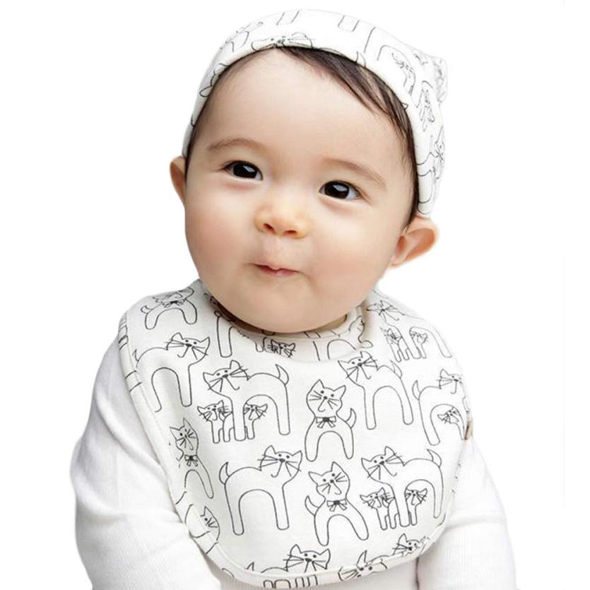 baby hat children baby caps cotton unisex girls 2 pcs/set New Baby Hat Bib Set Cartoon Cotton Beanie Baby Boy Girl Hats Kids###