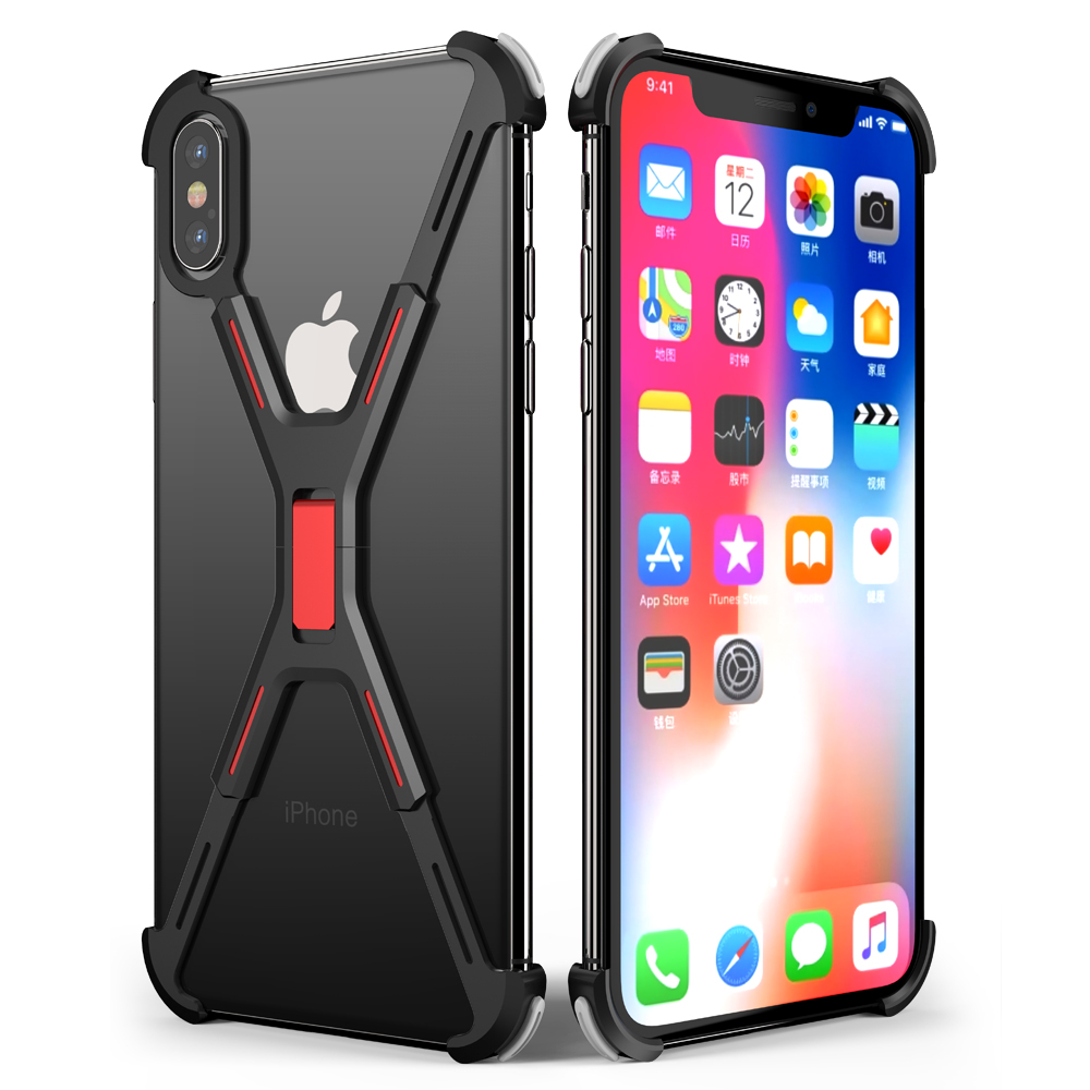 X Shape Metal Phone Cover For Iphone XS Max Case Back Cover For Iphone X Shockproof Shell Bumper 5.8 6.5 Inch Case