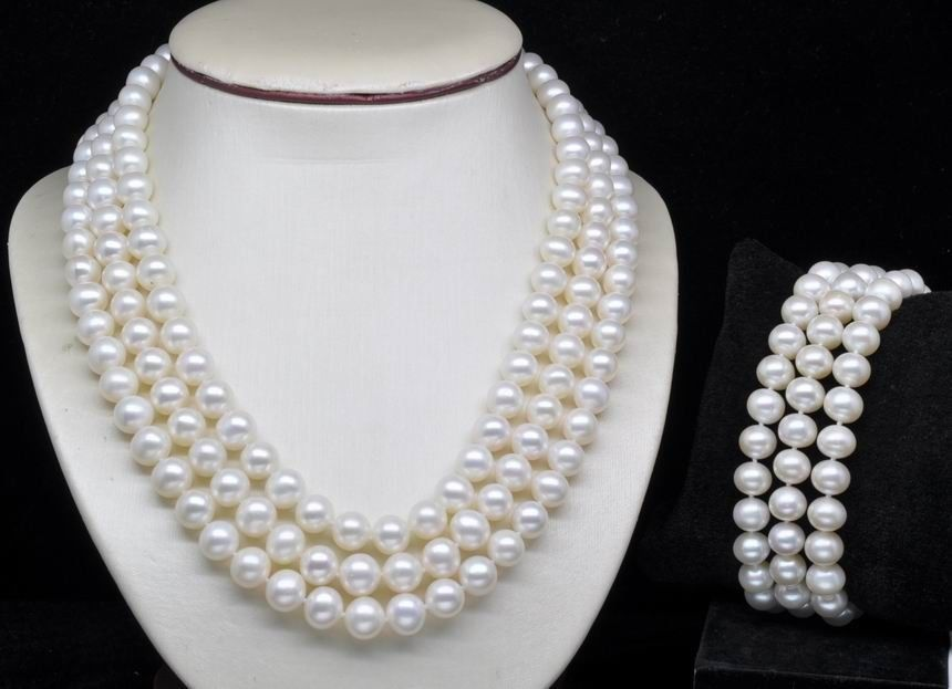 Livraison gratuite 656 naturel Triple brin AA 7-8mm blanc perle ensemble colliers et bracelets