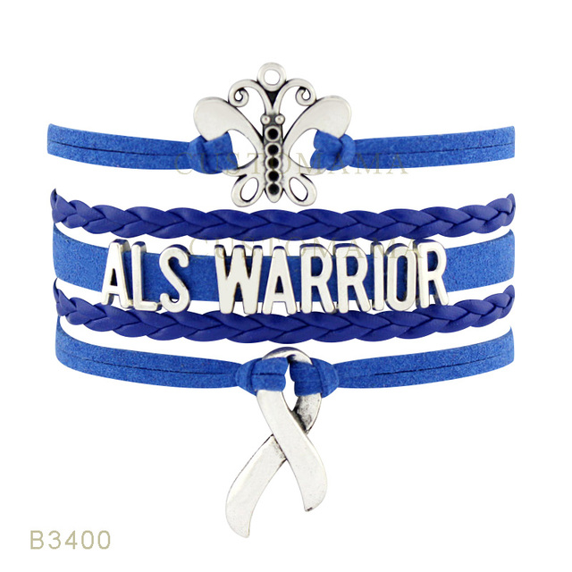 US $13 0 |Custom Infinity Love Butterfly ALS Warrior Awareness Ribbon  Bracelet Gift for Fighters Blue Suede Leather Custom Any Themes-in Charm