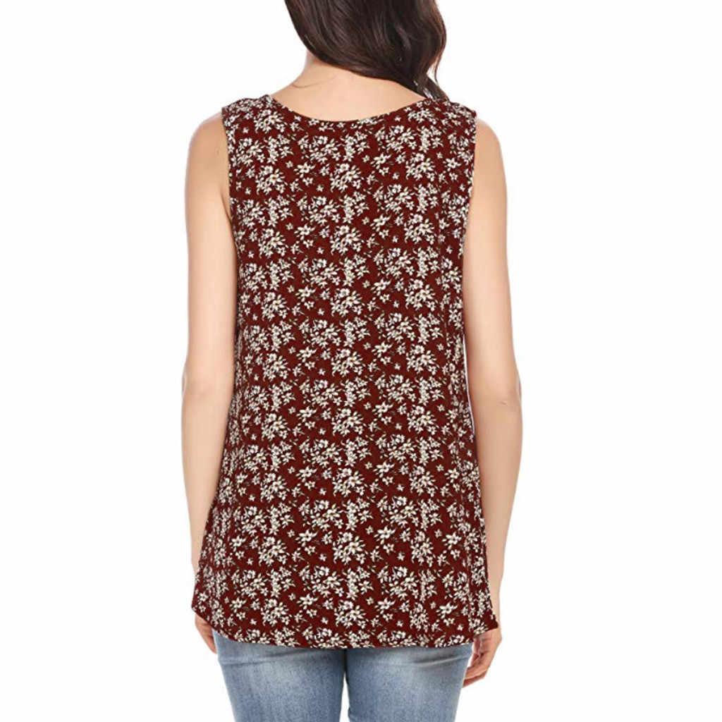 Woman tops print flower female vest short sexy girl blouse sling V-Neck casual femme summer 2019#P5